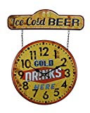 Metal Wall Clocks Faux Vintage Finish Metal Ice Cold Beer Sign and Wall Clock 20 Inch 15.75 X 20 X 0.75 Inches Yellow For Sale