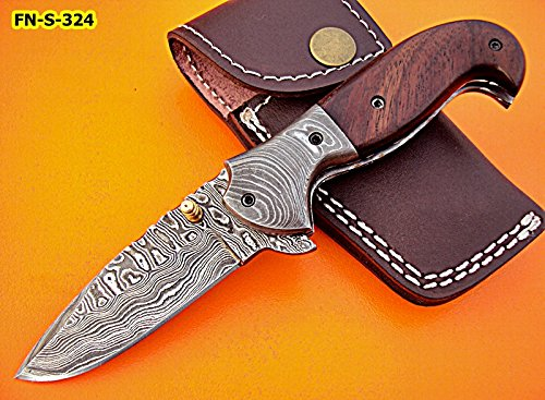 FN-S-324, Custom Handmade Damascus Steel 7 Inches Folding Knife – Solid Rose Wood Handle with Damascus Steel Bolsters