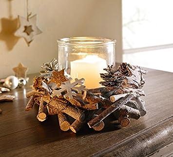 Deko Windlicht Holzkranz 2tlg Kerzenhalter Weihnachten