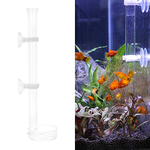(Senzeal Aquarium Glass Shrimp Feeder Tube Dish Bowls Reptiles for Fish Tank Feeding Food 250mm/9.84