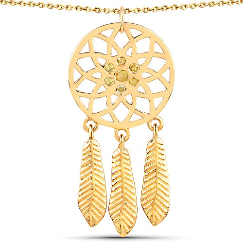 LoveHuang 0.18 Carats Genuine Yellow Diamond (I-J, I2-I3) Dream Catcher Pendant Solid .925 Sterling Silver With 18KT Yellow Gold Plating, 18Inch ()