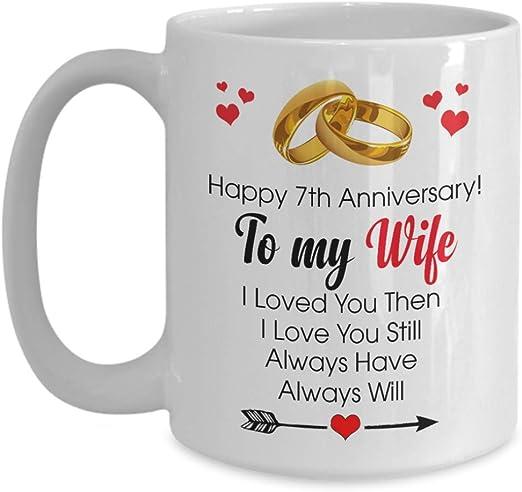Amazon Com Happy 7th Anniversary Mug Wife 7 Year Wedding Gift