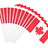 """Canada Stick Flag, ANLEY Canadian 5x8 inch HandHeld Mini Flag With 12"""" White Solid Pole - Vivid Color and Fade Resistant - 5 x 8 inch Hand Held Stick Flags With Spear Top (1 Dozen)"""