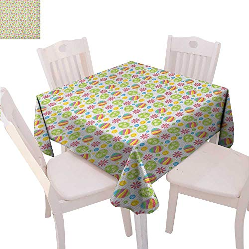 BlountDecor Easter Dinning Tabletop DecorPatchwork Style Graphic Scrapbook Pattern with Daisy Sewing Buttons and Egg Figures Table Cover for Kitchen 36