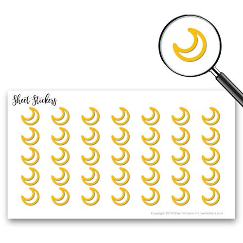Crescent Moon Night Moon Crescent, Sticker Sheet 88 Bullet Stickers for Journal Planner Scrapbooks Bujo and Crafts, Item 270317