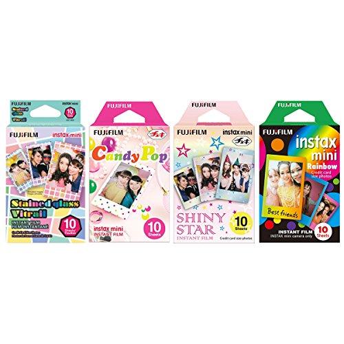 Fujifilm InstaX Mini Instant Film Rainbow & Staind Glass & Candy Pop & Shiny Star Film -10 Sheets X 4 Assort Value Set from Fujifilm