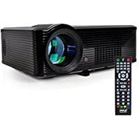 "Pyle Video Projector Full HD 1080p - 5"" LCD Panel LED Cinema Home Theater with Built-in Stereo Speakers, 2 HDMI Ports & Keystone Adjustable Picture Projection for TV PC Computer & Laptop - (PRJLE33)"