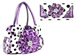 DH Sassy Polka Dot Rhinestone Flower Shoulder Bag Purse Wallet Set (Purple)
