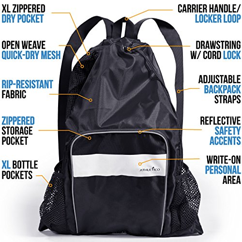 8cc434c83602 Athletico Mesh Swim Bag - Mesh Pool Bag with Wet   Dry Compartments for  Swimming