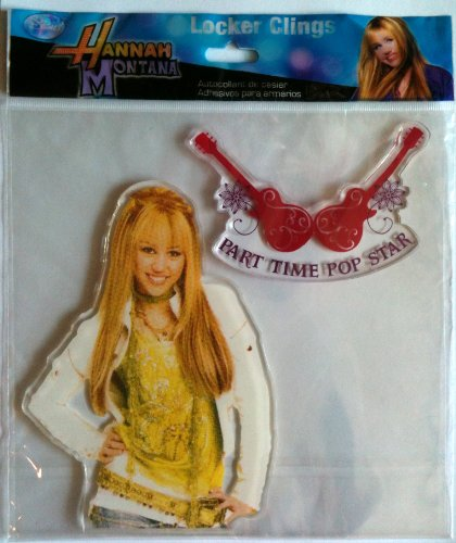 Hannah Montana Wall Decorations - Hannah Montana Disney MILEY CYRUS as Locker & Window Cling Decoration PART TIME ROCK STAR Guitars (6 1/2 Inches Tall)