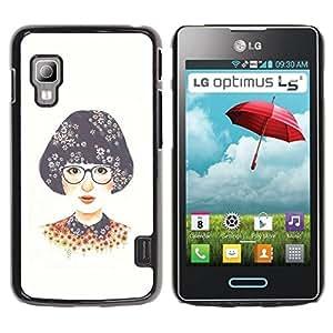 Paccase / SLIM PC / Aliminium Casa Carcasa Funda Case Cover para - Girl Glasses White Nerd - LG Optimus L5 II Dual E455 E460