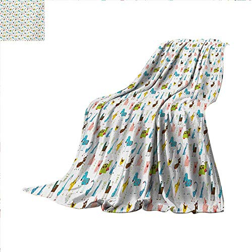 Cartoon Lightweight Blanket Farm Animals Pattern with Pig Rooster Cow Horse and Sheep Doodle Style Illustration Digital Printing Blanket 60 x 50 inch Multicolor