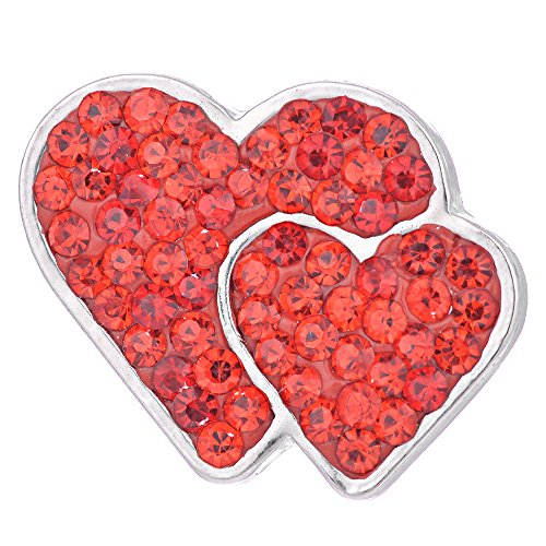 s Bling Crystal Double Love Heart Snap Jewelry Vn-1056 Pack of 2pcs (Red) ()