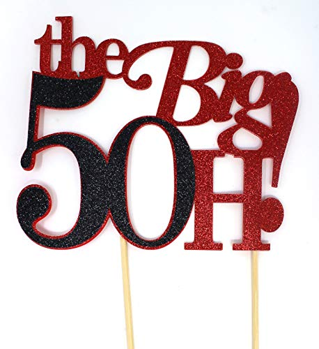 All About Details The Big 5OH! Cake Topper, 1pc, 50th birthday cake topper, 50th anniversary cake topper, 50th decoration (Red & Black) -