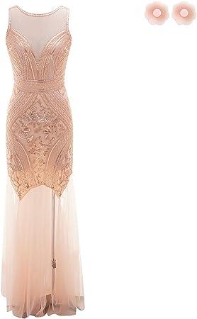 W/&TT Vintage V-Back Maxi Lungo Flapper Abiti 1920s Frange Grande Gatsby Abito Art Deco Paillettes Prom Abito da Sera,Apricot,S