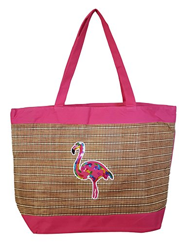 inch Flamingo Applique Large Tote