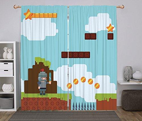 iPrint 2 Panel Set Window Drapes Kitchen Curtains,Video Game