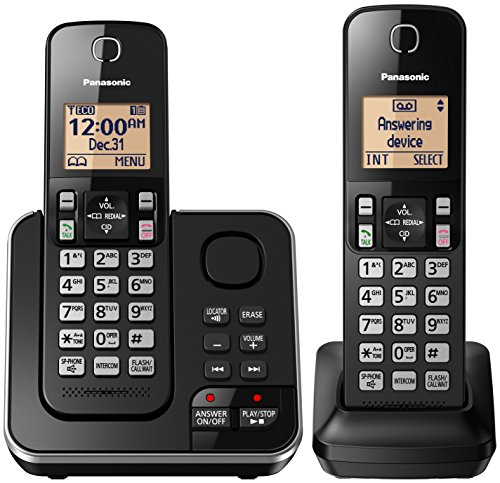 (PANASONIC Cordless Telephone with Answering Machine KX-TGC362B - 2 Handsets (Black))