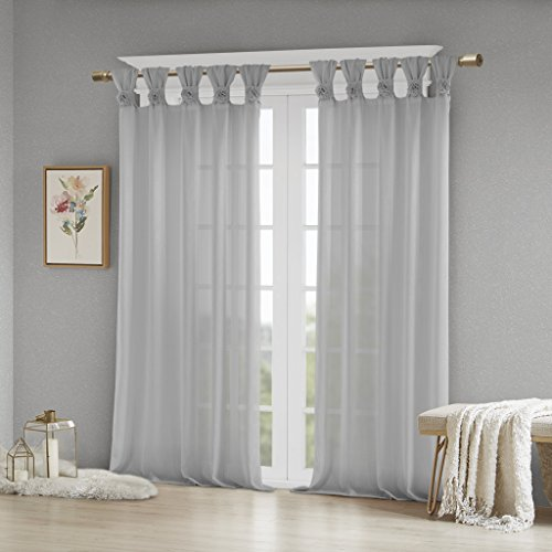 Madison Park Rosette Floral Embellished Cuff Tab Top Solid Window Treatments Curtain Panel Drape for Bedroom Living Room and Dorm, 50