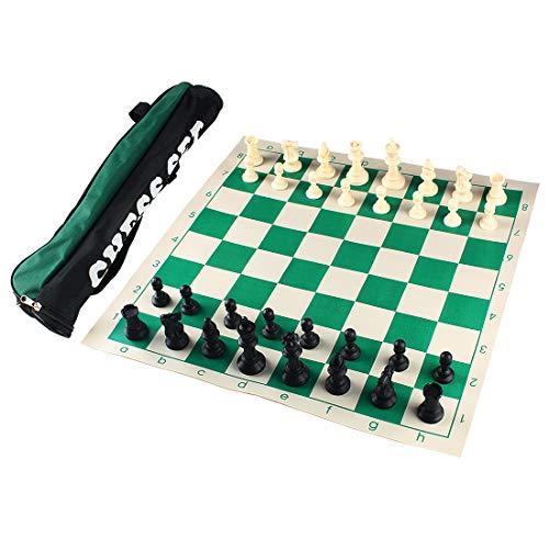 Andux Torneo Juego de ajedrez -Enrollar Tablero de ajedrez con 32 Piezas de ajedrez y Tablero de ajedrez Bolso XQTZ-01...