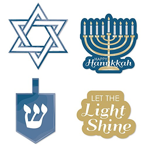 Big Dot of Happiness Happy Hanukkah - DIY Shaped Chanukah Cut-Outs - 24 ()