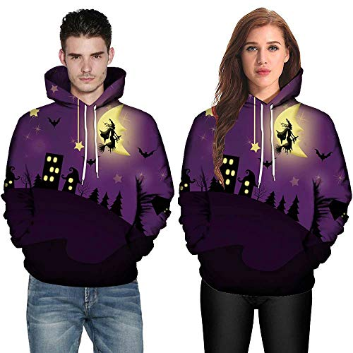 Sunhusing Men Women 3D Print Long Sleeve Halloween Couples Hoodies Top Blouse Shirts