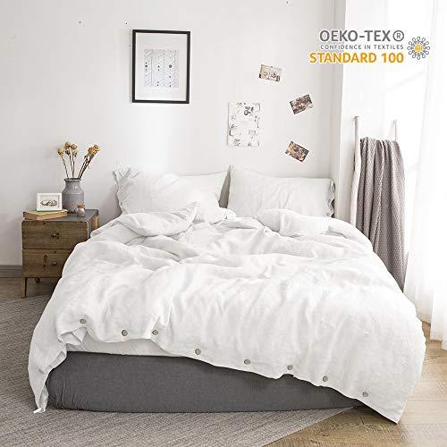 Simple&Opulence 100% Linen Duvet Cover Set Coconut Buttons 3pcs (King, White)