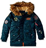 Alpha Industries Big Boys' Maverick Flight Jacket, Navy, Large/14-16