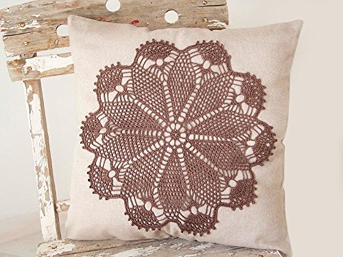 Cream Ecru Pillow Cover With Crochet brown hand dyed Doily Pillow