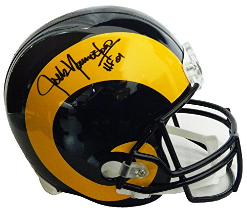 (Jack Youngblood Autographed/Signed LA Rams Throwback Riddell Full-Size Replica Helmet w/HF'01 - Authentic Signature)