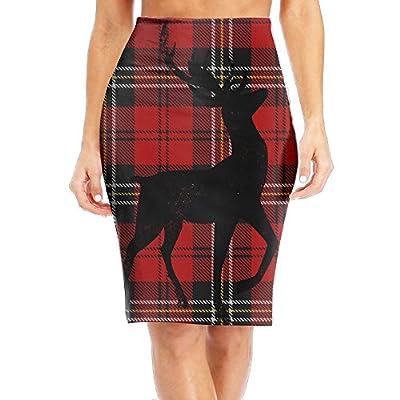 TO-JP Women's Classic Red Buffalo Plaid Long Pencil Skirt Knee Length Dress