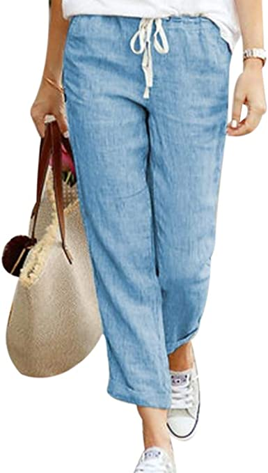 Shujin - Pantalones ligeros para mujer de algodón 7/8 de largo, para verano, cómodos y holgados, con cordón: Amazon.es: Ropa y accesorios