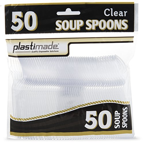 Plastimade Cutlery Heavy Weight Clear Plastic Soup Spoons 50 Soup Spoons In A Package Pack of 1 -