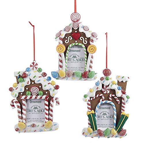 pinstore Gingerbread Candy House Photo Frame Christmas Ornaments, 3-Piece