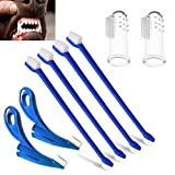 ASNME Dog Toothbrush, Cat Toothbrush,4 Pack Finger Toothbrushes and 4 Mini Long Handle Dual Headed Toothbrush Set