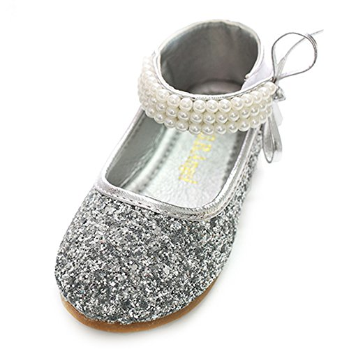 Sequin Ballet Flat - YING LAN Girl Round-Toe Sparkle Bowknot Ballet Ballerina Flat Wedding Shoes Mary Janes Silver