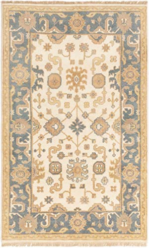 eCarpet Gallery Area Rug for Living Room, Bedroom | Hand-Knotted Wool Rug | Royal Ushak Bordered Ivory Rug 4'0' x 6'3' | 283155
