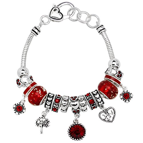 - Falari Birthstone Bracelet Multi-Color Charm Beads Silvertone January OB07234-JAN