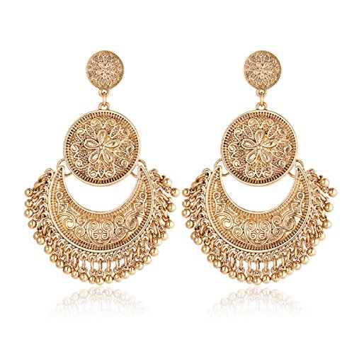 Gmai Antique Ethnic Brocade Mexico Gypsy Engraved Lotus Hook Dangle Earrings for Women and Girls (Gold 2)