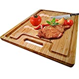 Large Organic Bamboo Cutting Board With Special Design Juice Grooves For Kitchen,Reversible Chopping Board With Handle For Meats Bread Fruits, Carving Board BPA Free (17x12.6'-With Handle)