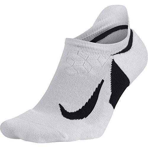 NIKE Unisex Spark Cushioned No-Show Running Socks, White/Black/Black, Size 10 (Nike Elite Socks Woman)