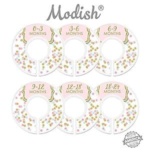 Modish Labels Baby Nursery Closet Dividers, Nursery Closet Organizers, Baby Clothes Size Dividers, Pink Mint Gold Nursery Decor, Confetti Dots, Baby Girl 1