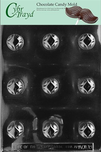Cybrtrayd Life of the Party AO103 Round Traditional Pieces All Occasions Chocolate Candy Mold in Sealed Protective Poly Bag Imprinted with Copyrighted Cybrtrayd Molding Instructions