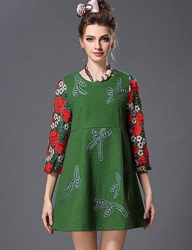 GSP-Damen Kleid - Übergrößen Übergröße / Party Einfarbig / Patchwork Übers Knie Wolle / Polyester Rundhalsausschnitt