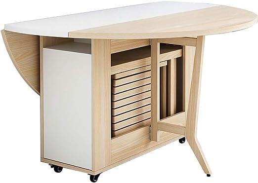 DIOE Mesa plegable creativa, mesa extensible redonda, ruedas ...