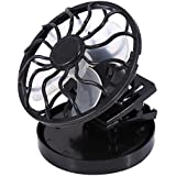 EBDcom Mini Clip-on Fan Panel Cooling Cell Fan for Travel Camping Cooling Outdoor Fishing Portable Solar Fan(Color:Black)