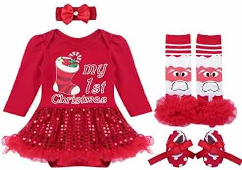 4b802fd5ce273 YiZYiF Baby Girls Outfits Newborn Infant Baby s First Christmas Tutu Dress  Up