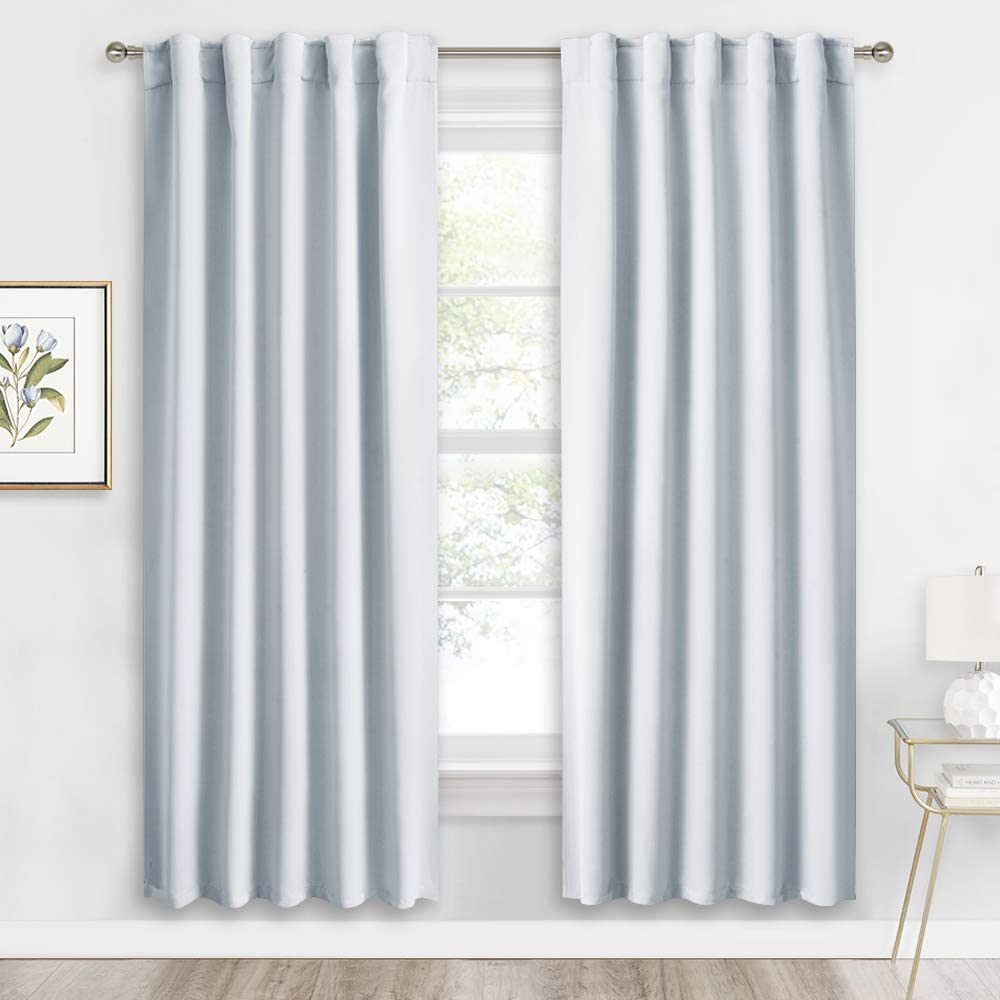 RYB HOME Living Room Window Curtains, Back Tab & Rod Pocket 2 Hanging Top, Thermal Insulated Backdrop Room Darkening Draperies for Bedroom / Kitchen / Farmhouse, 42 inch Width x 72 inch Length, 2 Pcs