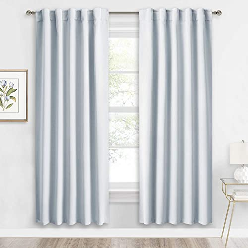 RYB HOME Living Room Window Curtains, Back Tab Rod Pocket 2 Hanging Top, Insulated Noise Backdrop Room Darkening Draperies for Bedroom Kitchen Farmhouse, 42-inch Width x 72-inch Length, 2 Pcs