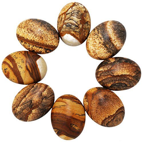 SUNYIK Picture Jasper Cabochons CAB Flatback for Jewelry Making,22x30mm,Pack of 10 - Picture Jasper Flat Oval Beads